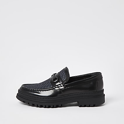 Black chunky sole monogram loafers