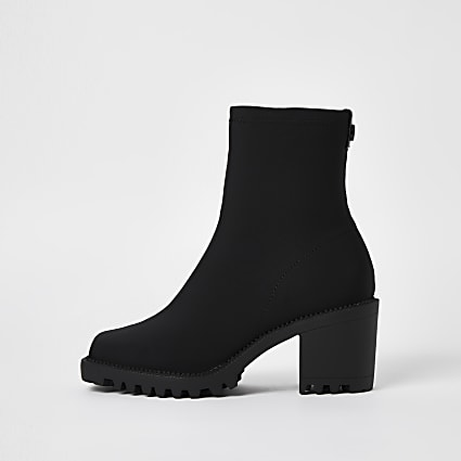 Black chunky suede boots