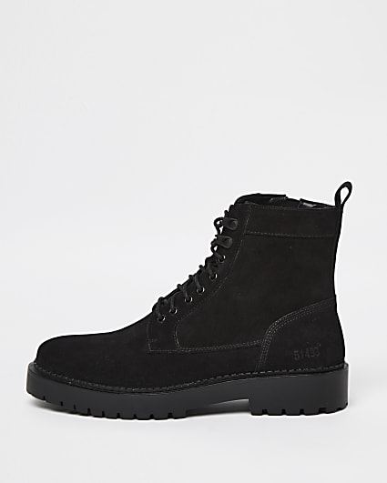 Black chunky suede lace up boots