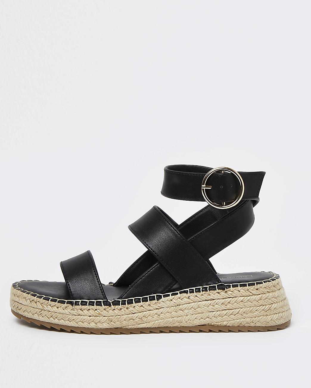Black chunky wedge sandals