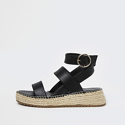 Black chunky wedge sandals