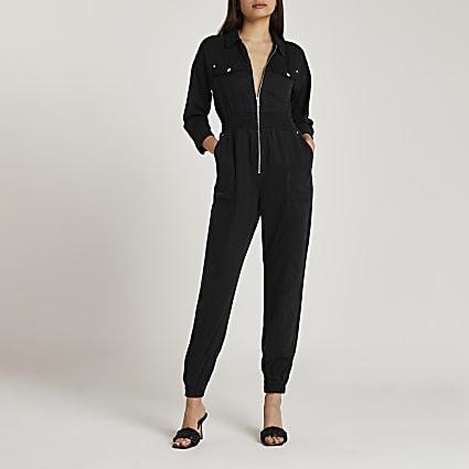 Black cinched waist zip jumpsuit