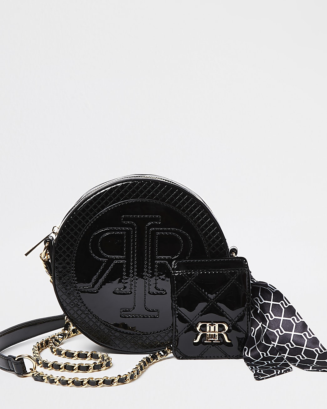 Black circle embossed double pouch bag