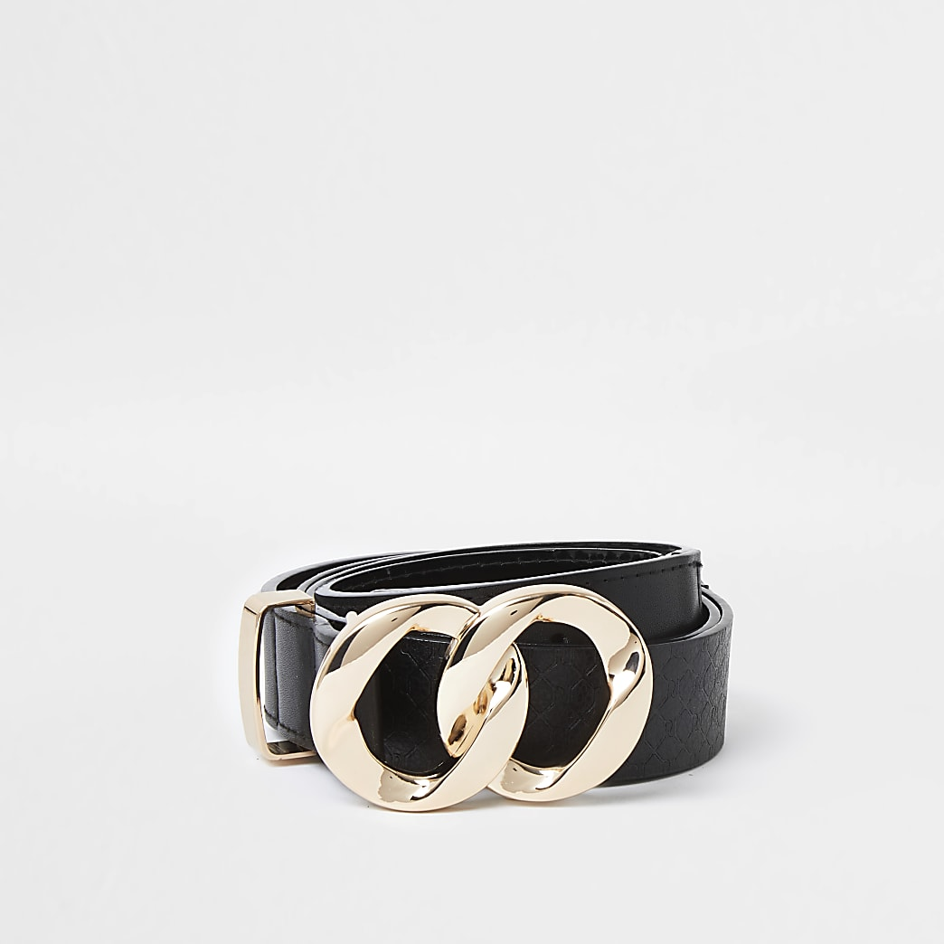 Black circle twist buckle belt