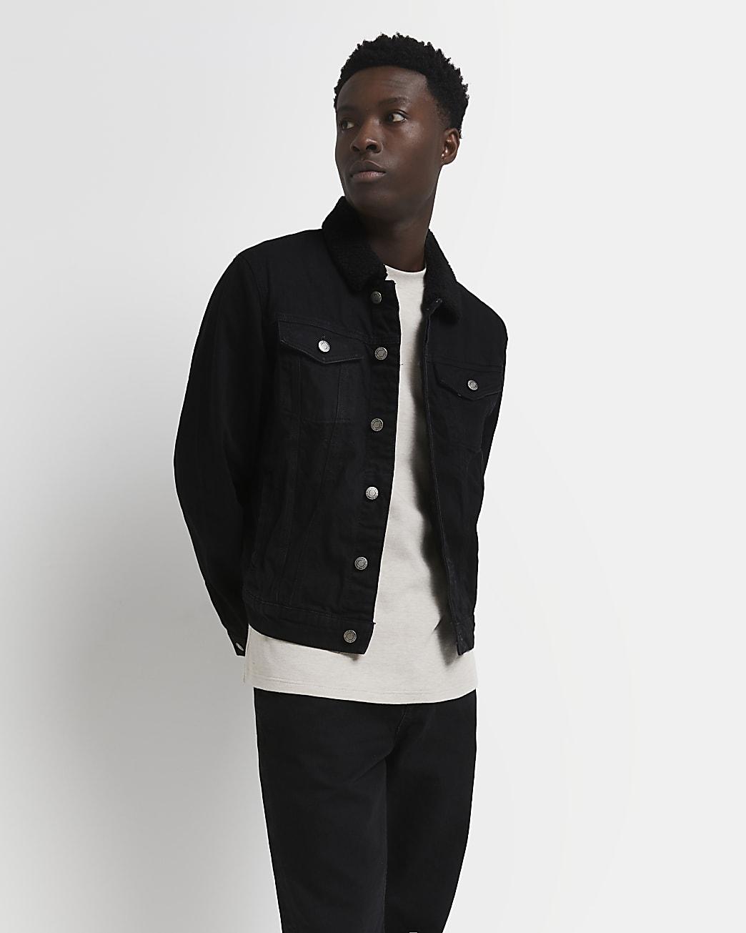 Black classic borg collar denim jacket