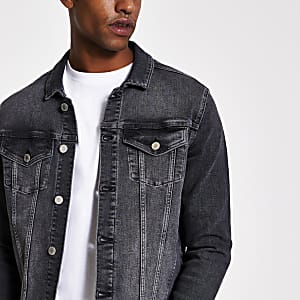 Black classic fit denim jacket