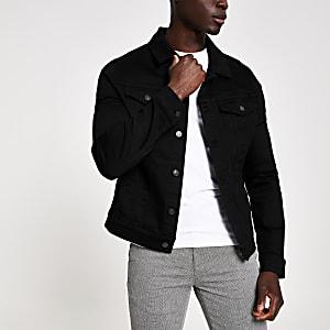 Zwart denim jasje met klassieke pasvorm