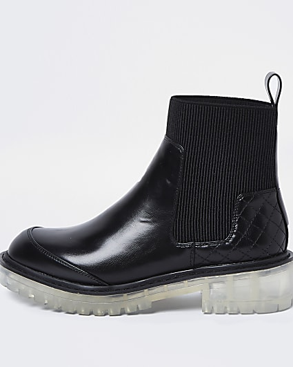 Black clear sole chelsea ankle boots