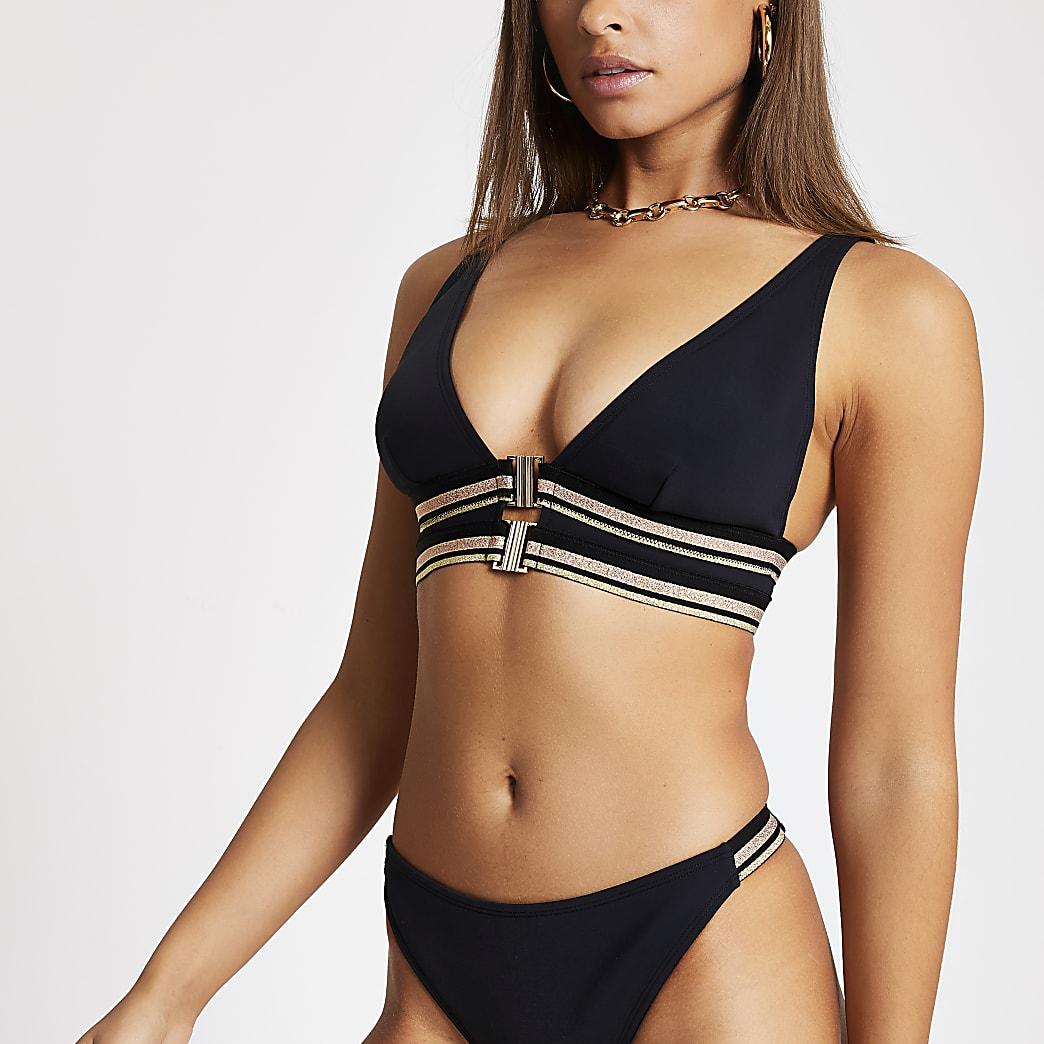 Zwarte triangel-bikinitop met sluiting voor