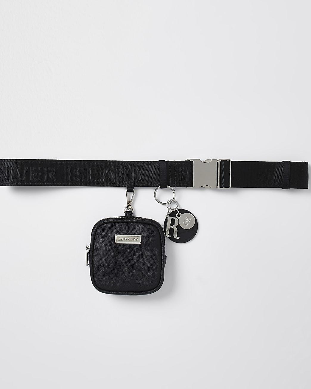Black clip on purse belt
