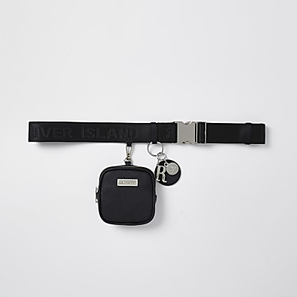 Black clip on purse belt