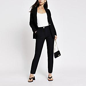 Zwarte smaltoelopende broek