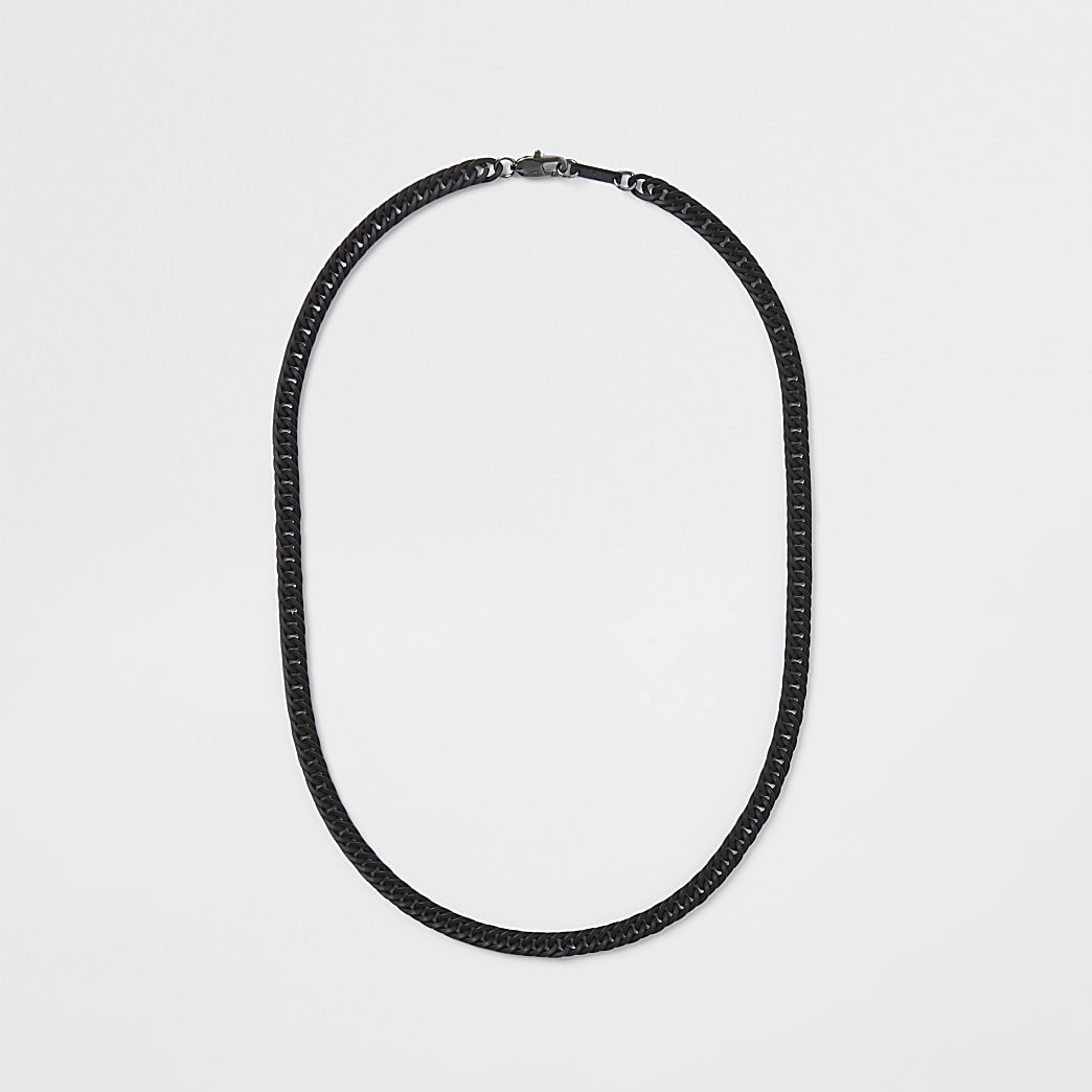 Black coated chain necklace