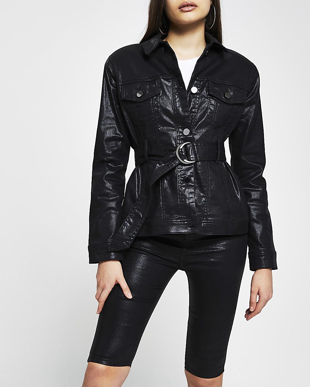 Black coated denim belted jacket