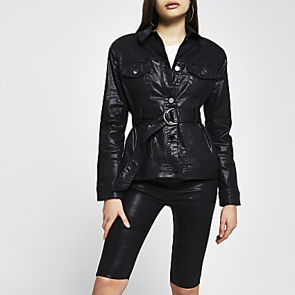Black coated denim belted jacket