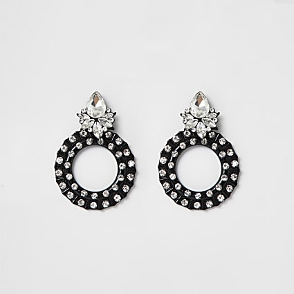 Black coated diamante circle drop earrings