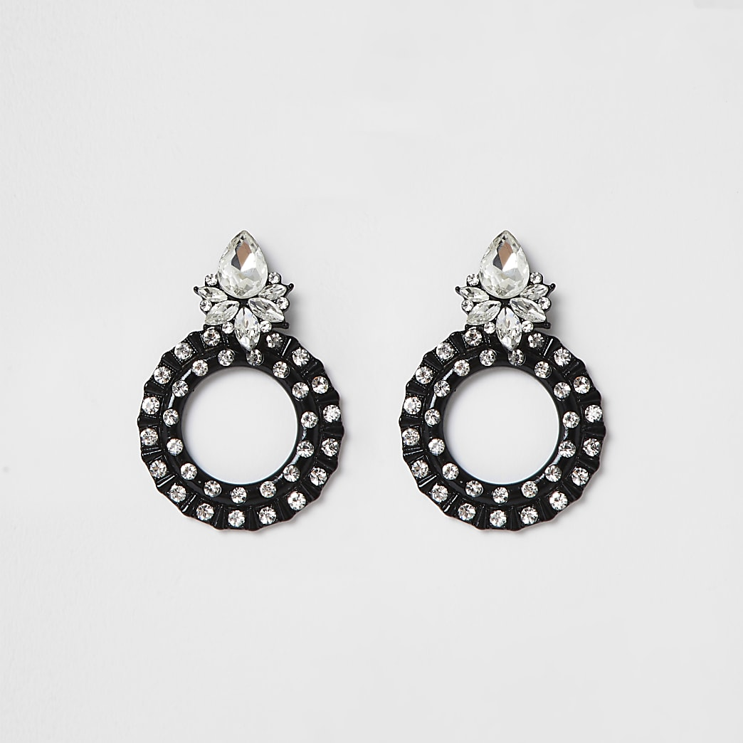 Black coated diamante circle drop earrings