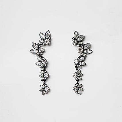 Black coated diamante ear cuffs