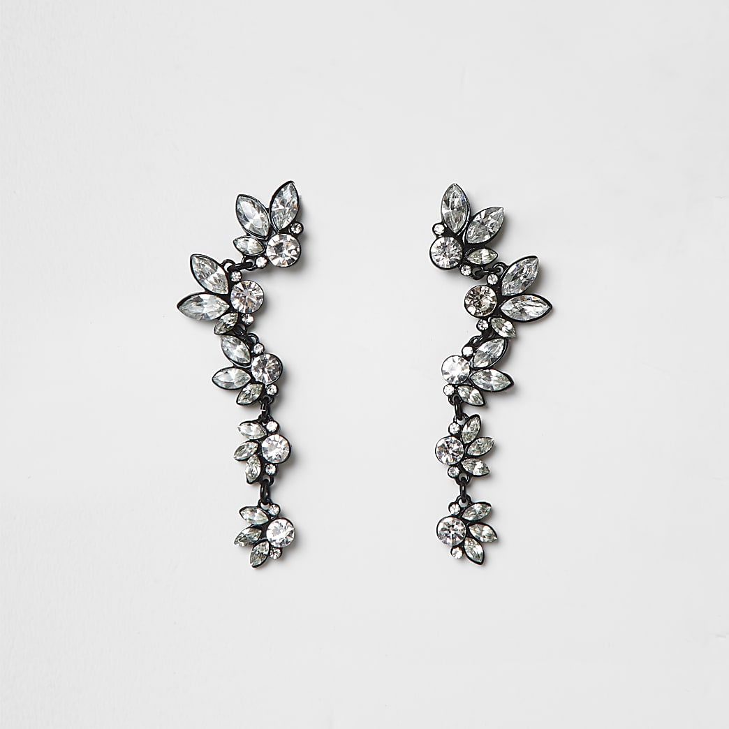 Black coated diamante ear cuffs