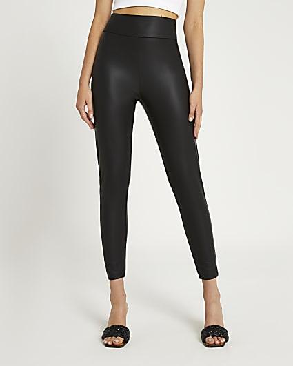 Black coated high waisted leggings