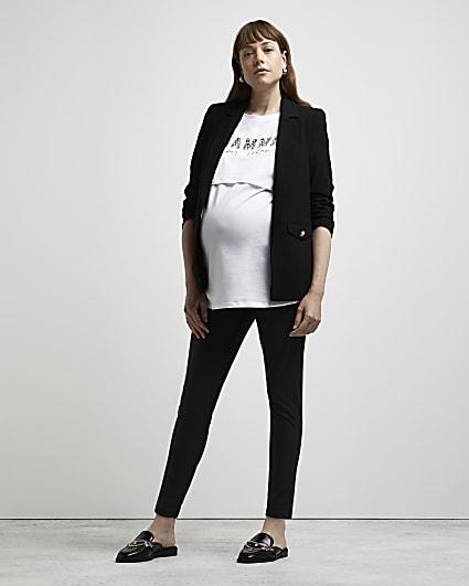 Black coated high waisted maternity leggings