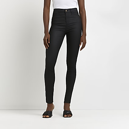 Black coated high waisted skinny jean