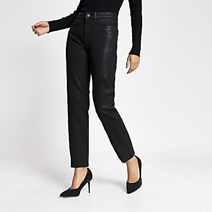 Black coated straight leg jeans