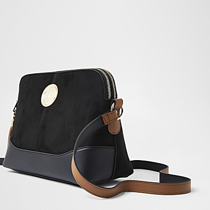 Black coin detail cross body handbag