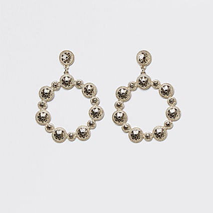 Black coin embellished ring drop earrings