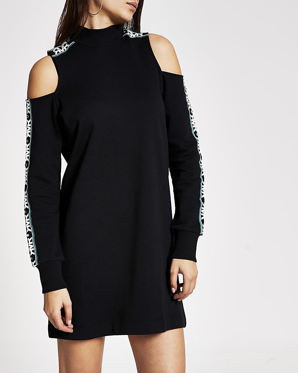 Black cold shoulder RVR sweater dress