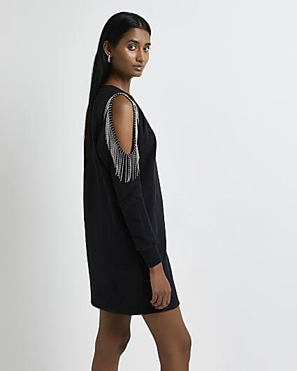 Black cold shoulder sequin jumper dress