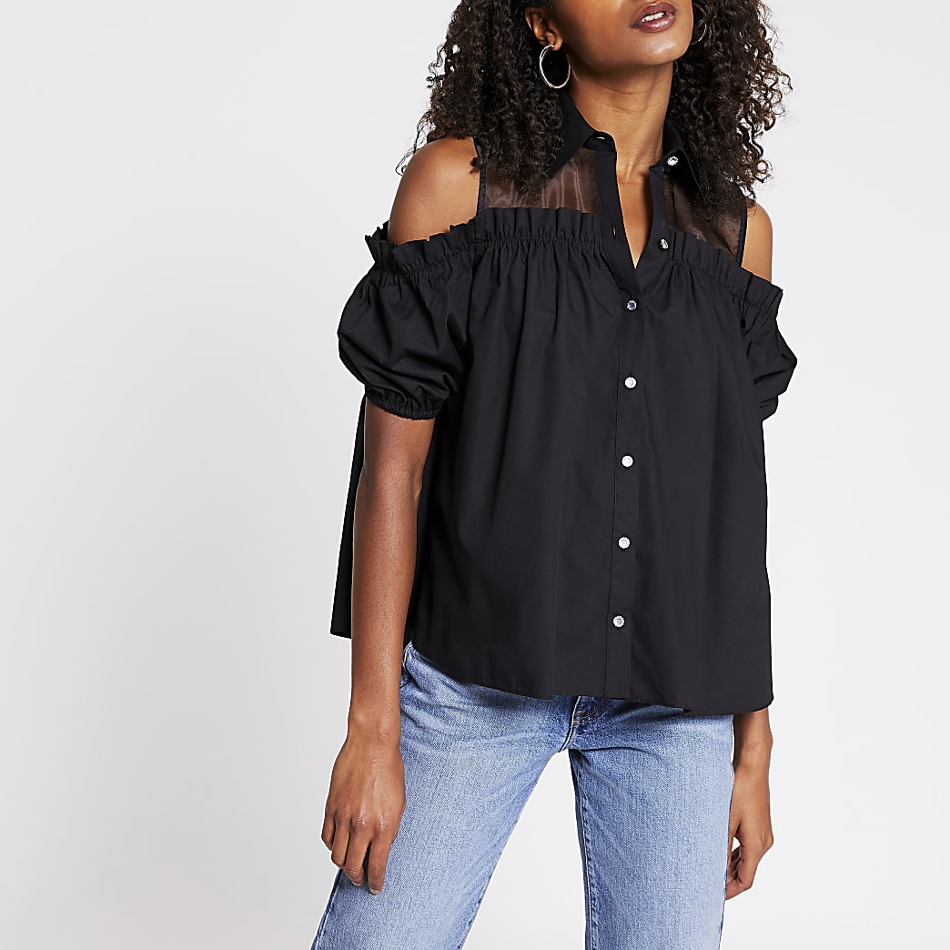 Black cold shoulder shirt