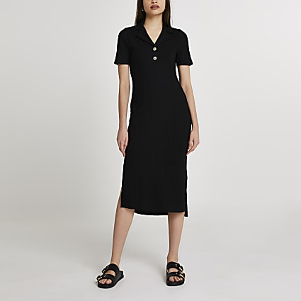 Black collar neck button midi dress