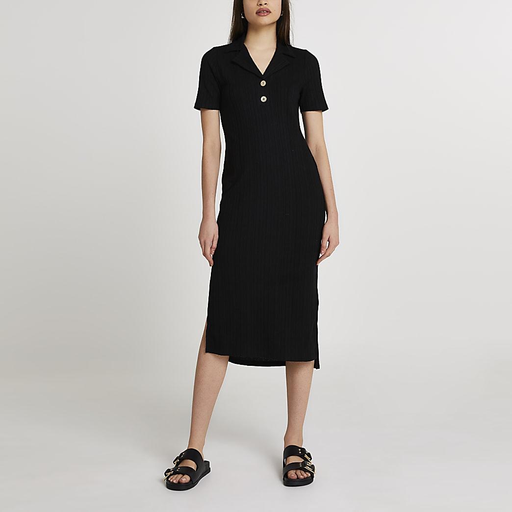 Black collar neck button midi dress