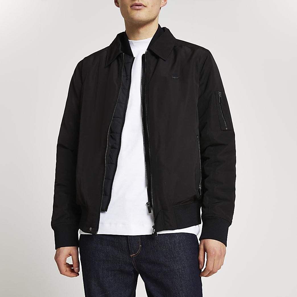 Black collared bomber jacket
