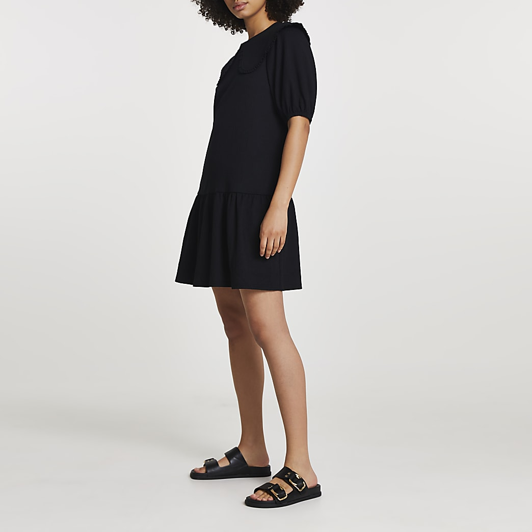 Black collared tiered mini dress