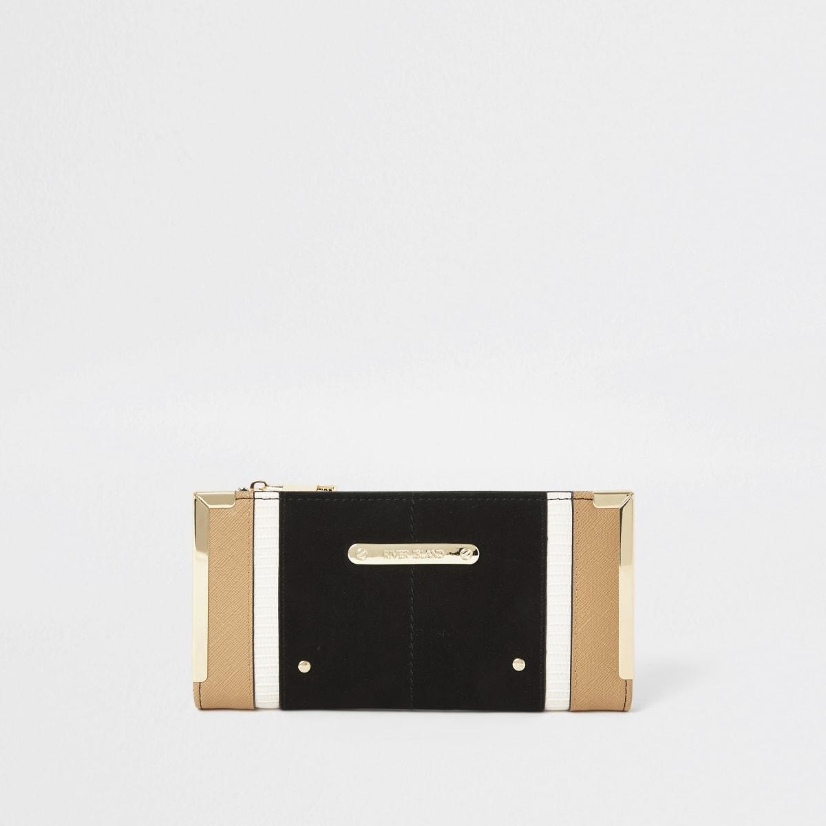 Zwarte uitvouwbare portemonnee met kleurvlakken en metalen hoeken