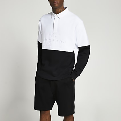 Black colour block long sleeve polo shirt