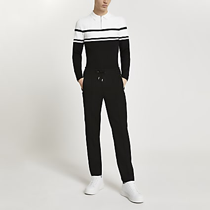 Black colour block long sleeve polo