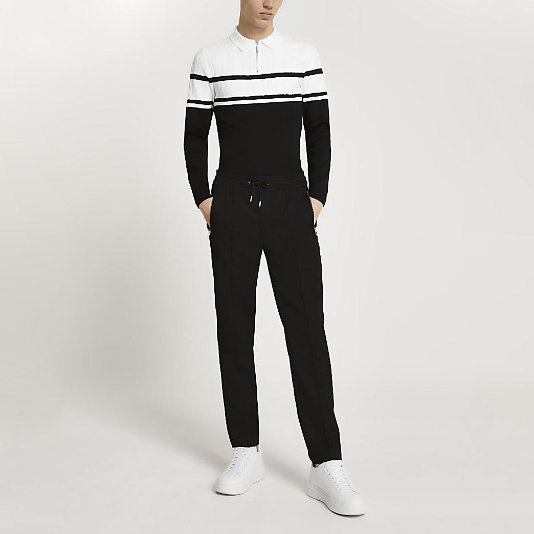 Black colour block long sleeve polo