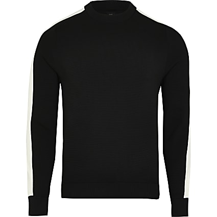Black colour block long sleeve sweatshirt