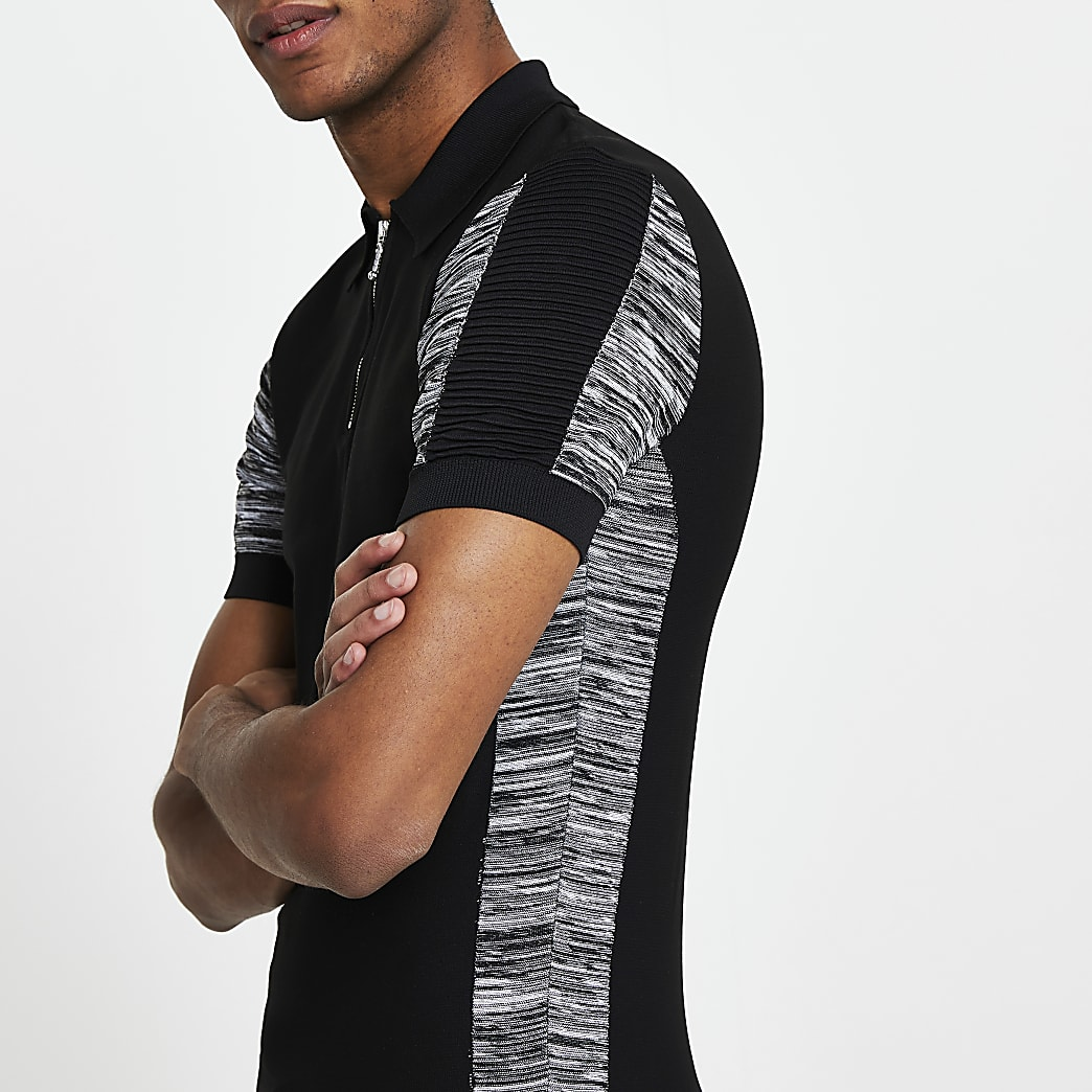 Black colour block muscle fit polo shirt