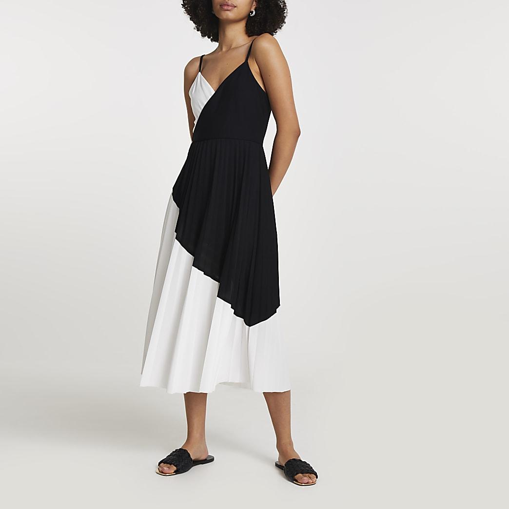 Black colour block pleated midi dress