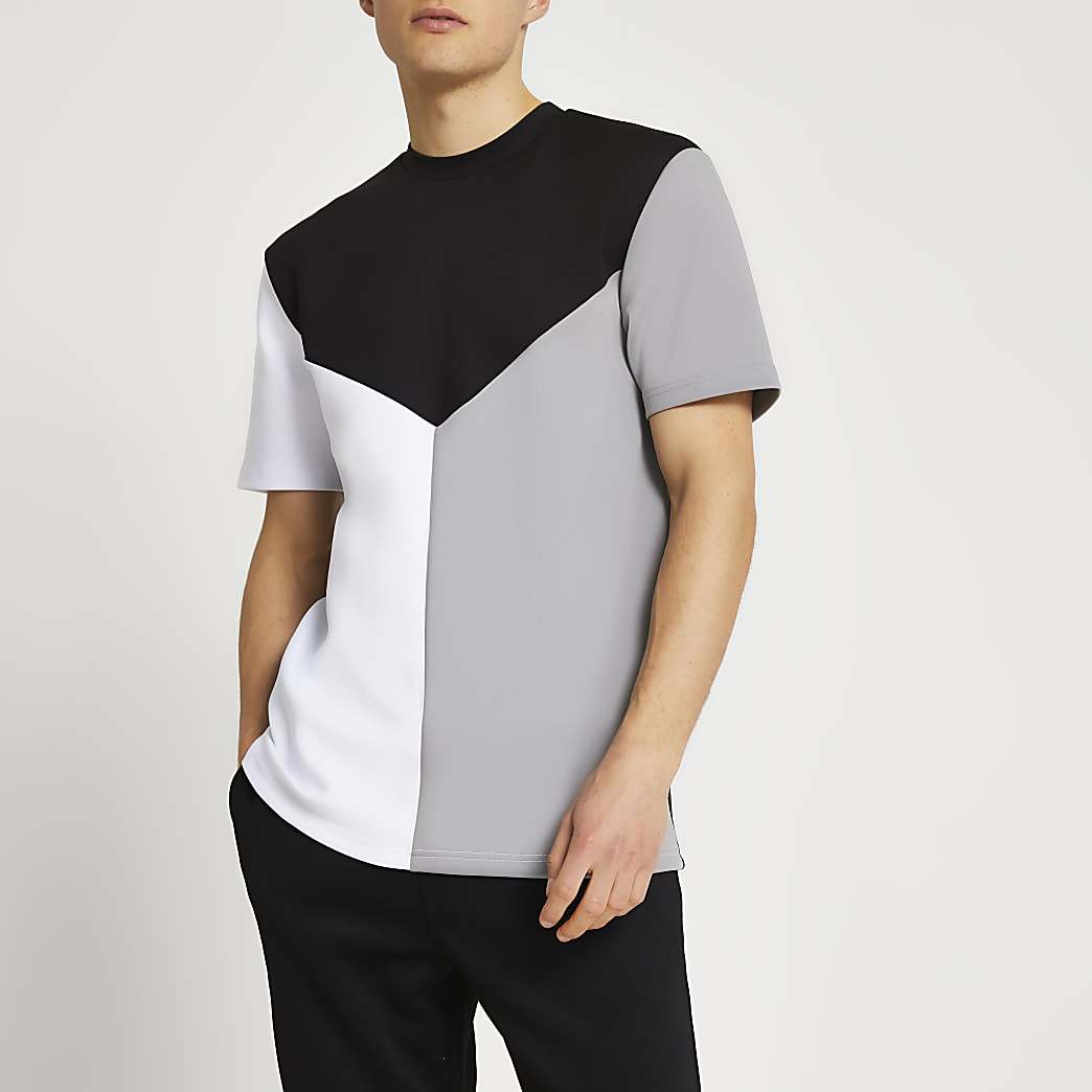 Black colour block scuba t-shirt