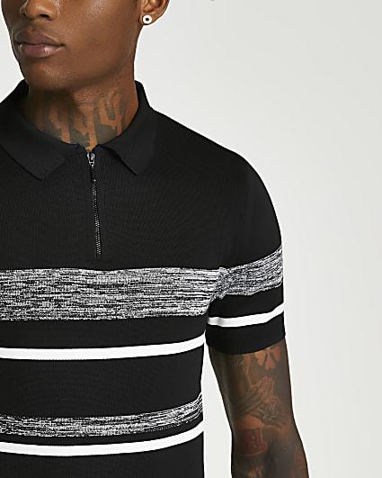Black colour block short sleeve polo shirt