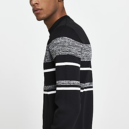 Black colour block slim fit jumper