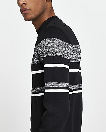 Black colour block slim fit jumper