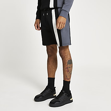 Black colour block slim fit shorts