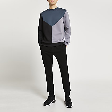 Black colour block slim fit sweatshirt