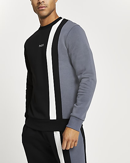 Black colour block slim fit sweatshirt